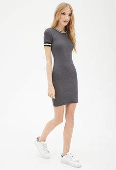 Forever 21 Ribbed Stripe-trim Dress in Gray (Grey) | Lyst
