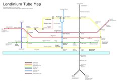 """Londinium """"tube map"""" showing locations where you can still see remains in bold! Uk History, London History, London Map, Old London, Mind The Gap, London Underground, Fortification, City Maps, London Calling"""
