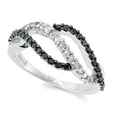 1/2ctw Sterling Silver Black/White Diamond Ring