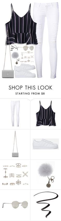 """Untitled#4477"" by fashionnfacts ❤ liked on Polyvore featuring Frame Denim, Chicwish, Yves Saint Laurent, adidas Originals, New Look, Overland Sheepskin Co., Forever 21 and L'Oréal Paris"