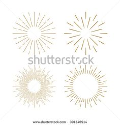 Retro gold Sun burst shapes. Vintage light starburst logo, labels, badges…