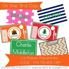 Love these placemats - 15% today only! Expires 11.18.13 @ midnight CST