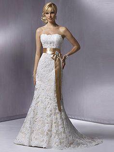 2013 New Style Trumpet/Mermaid Strapless Chapel train Satin Lace Wedding Dresses #AUSA002066 - Lace Wedding Dresses