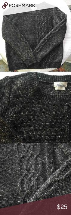"""Madewell Wallace cable knit detail sparkly sweater Super cute! Has silver thread running through it and a cable knit detail on one side of the front and running along the arms  Has a little pilling (can be seen in pics) but other than that is in great condition.   Measurements: - 20"""" pit to pit - 21.5"""" length   42% wool, 38% polyester, 20% metallic.  Make an offer! Madewell Sweaters"""