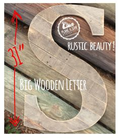 """31 Inch Tall Rustic Letter S by Plane and Saw Mercantile, creator of the Original"""" Reclaimed Wood Wedding Guestbook Letter  Each rustic salvaged wood"""
