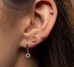 Moon And Star Earrings, Evil Eye Earrings, Tiny Stud Earrings, Moon Earrings, Cheap Earrings, Simple Earrings, Ear Jewelry, Jewellery Box, Evil Eye Jewelry