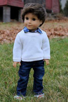"Ivory Crewneck Sweater American Boy/Girl or 18"" Doll"