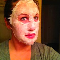 Egg White Mask.... 1 layer of egg whites, separate Kleenex into thin halves and apply to face. Repeat 3 times. Peel off after 1 hour