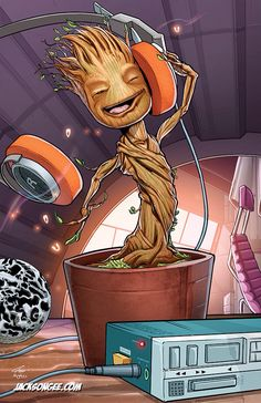 "from Guardians of the Galaxy. ""I am Groot"". Baby Groot grooving to some music. Baby Groot, Marvel Comics, Marvel Heroes, Groot Comics, Captain Marvel, Marvel Avengers, Thanos Marvel, Digital Art Illustration, Deco Gamer"