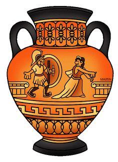 Ancient Greek Urns & Vases for Kids and Teachers Illustration Greek History, Ancient History, Art History, Ancient Greece For Kids, Ancient Greek Art, Vase Crafts, Urn Vase, Black Vase, Metal Vase