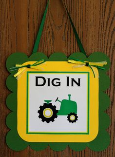 Tractor Birthday Party Door Sign by ExpressionsPaperie on Etsy, $10.00