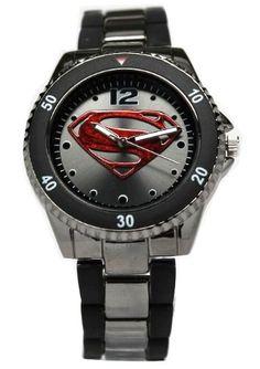 Men's Fashion #Superman Man of Steel #Watch Gun Metal
