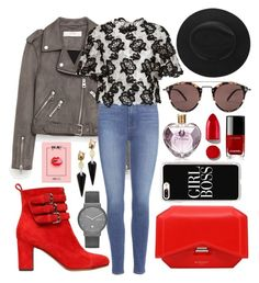 """""""Red Grey black"""" by asnaate ❤ liked on Polyvore featuring Tabitha Simmons, Jakke, Paige Denim, Monique Lhuillier, Givenchy, Oliver Peoples, Casetify, Vera Wang, Alexis Bittar and Skagen"""