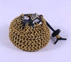 Steampunk Chainmaille Gold Dice Bag / Gold Dice Bag / Gold Dicebag / Steampunk Dice Bag / Steampunk Dicebag / Chainmaille Dice Bag