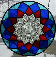 Stained glass Federal depression era plate panel