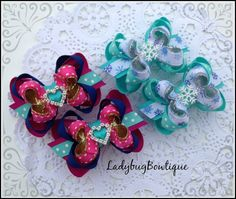 Frozen Snowflake Sisters Mini Boutique Hair Bow by LadybugBowtique