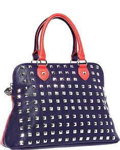SPRING STUD DOME SATCHEL RED accessories handbags non leather satchels #betseyjohnson