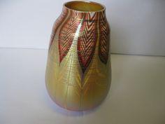 "Zephyr Studio Art Glass Gold Aurene Threaded-Feathers 8 1/2"" Vase 1999 USA #zephyr #vase #handblown #teamsellit #bonanza #freeshipping"