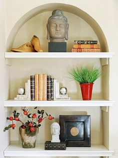 I really like the overall shape of the shelf and the flow of the items on them. Especially the bookends.