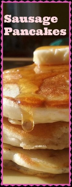 Pancakes stuffed with sausage.  Topped with butter and maple syrup.