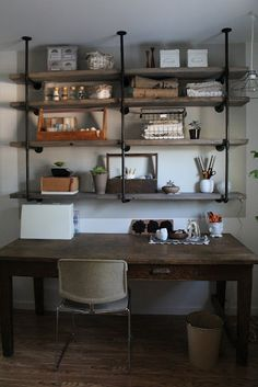 DIY Industrial Iron & Wood Shelves ~ Great Tutorial via SylvieLiv: Before & After: Craft Room