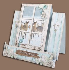 Center Step Cards, Marianne Design, Studio Lighting, Winter Cards, Folded Cards, Christmas Cards, Inspiration Cards, Greeting Cards, Windows