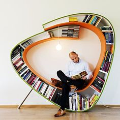 Dutch design studio Atelier 010 have created the Bookworm bookcase. The sculptural bookcase also offers a place to sit and read the books.