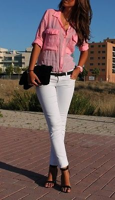 White jeans, pink shirt ♡