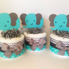 SET OF 3 Elephant Mini Diaper Cakes in Teal and Grey