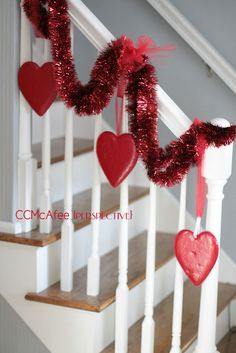 Perspective: V-day banister Banister Garland, Banisters, Banister Ideas, Love Valentines, Valentine Day Gifts, Valentines Day Decorations, Holidays And Events, Perspective, Christmas Wreaths