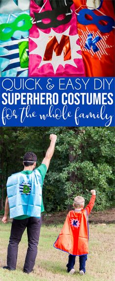 Easy DIY superhero costume tutorial for an entire family! Make your DIY superhero costume for women first then make versions for dad and the kids so you can have an entire family of superheroes! An easy tutorial and free cut files to make it simple to recreate at home! Easy Superhero Costumes, Easy Diy Costumes, Halloween Costumes For Teens, Super Hero Costumes, Superhero Party, Halloween Diy, Costume Ideas, Halloween Projects, Halloween 2019