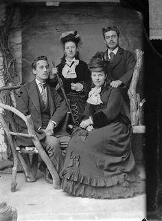 "A well dressed quartet of young Victorians identified as ""Edward Prince and family"". 1800s"