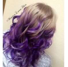 56 new ideas hair color blonde with purple ombre summer Purple Balayage, Blond Ombre, Blonde Dye, Balayage Blond, Brown Ombre Hair, Hair Color Balayage, Purple Ombre, Pastel Blonde, Blonde Curls
