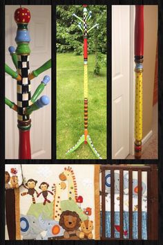 Whimsical Painted Furniture, Custom Painted Clothes Tree // Coat Rack Custom by Michele Sprague Whimsical Painted Furniture, Painted Chairs, Hand Painted Furniture, Funky Furniture, Tree Coat Rack, Coat Tree, Coat Racks, The Colour Of Spring, Standing Coat Rack