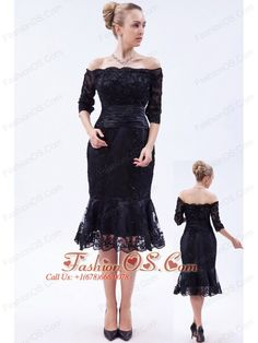 Navy Blue Column Off the Shoulder Tea-length Lace Beading Mother Of The Bride Dress    http://www.facebook.com/quinceaneradress.fashionos.us  www.fashionos.com  The knee-length skirt is scattered with beading and hemmed with black lace that adds your glamour and charm. A hidden zipper makes it for easy off and on and secures the dress in place.