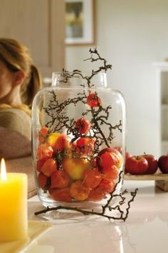 Wonderful idea for an autumn decoration. There are even more autumn ideas at www.de - Hazir-WP - Wonderful idea for an autumn decoration. There are even more autumn ideas www. Deco Floral, Arte Floral, Fall Home Decor, Autumn Home, Thanksgiving Decorations, Seasonal Decor, Thanksgiving Crafts, Fall Crafts, Diy And Crafts