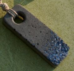 Concrete Pendant - Natural gray with recycled blue glass aggregate with macrame necklace on Etsy, Sold