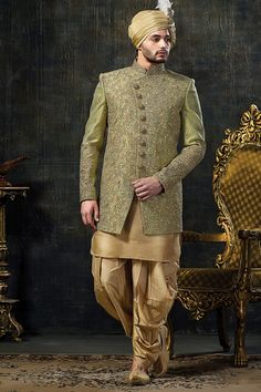 Get the simplicity and grace with this dashing groom indo western sherwani in sea green colour. It Come with matching bottom. Note: Mojdi and Safa(turban) only for photoshoot purpos. Wedding Dress For Boys, Wedding Dresses Men Indian, Groom Wedding Dress, Wedding Wear, Wedding Poses, Wedding Suits, Bride Groom, Sherwani Groom, Wedding Sherwani