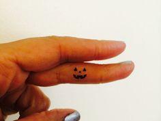 Pumpkin Face Halloween Temporary Tattoo Tiny / Fake Tattoos / Set of 20