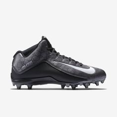 cbc273f4598 Nike Alpha Strike 3 4 2 TD Men s Football Cleats 725227-010 Sz 10  Black Grey Wht