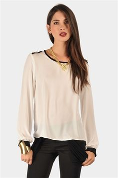 Poly Button Blouse - White  So cute