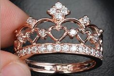 Rings Unique Rose Gold Heart Crown Engagement Ring - Diamond Wedding Band Ring, An. Unique Rose Gold Heart Crown Engagement Ring - Diamond Wedding Band Ring, Anniversary Ring, Other Metal Available Black Hills Gold Jewelry, Rose Gold Jewelry, Sterling Silver Jewelry, Silver Ring, Fine Jewelry, Gold Rings, Jewelry Making, Silver Jewellery, Silver Metal