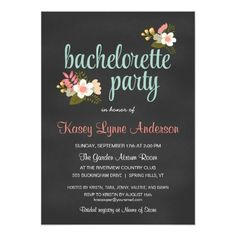chalkboard bachelorette party Bachelorette Party Floral Chalkboard Invitations