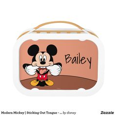 Modern Mickey   Sticking Out Tongue - Personalized. Producto disponible en tienda Zazzle. Product available in Zazzle store. Regalos, Gifts. Link to product: http://www.zazzle.com/modern_mickey_sticking_out_tongue_personalized_lunch_box-256602605450201094?CMPN=shareicon&lang=en&social=true&rf=238167879144476949 #LunchBox #Lonchera #disney