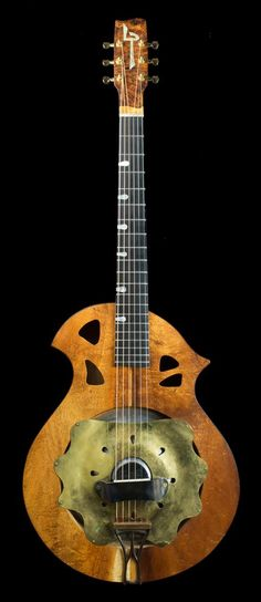 "fretedchordophones: Larry Pogreba ""hubcap"" Resonator Guitar =chordophone of… Cigar Box Guitar, Music Guitar, Acoustic Guitar, Guitar Room, Resonator Guitar, Jackson Browne, Steel Guitar, Guitar Design, Custom Guitars"