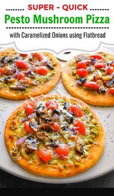 Pesto Mushroom Pizza with Caramelized Onions using Flatbread New York Style Pizza Dough Recipe, Best Pizza Dough, Best Homemade Pizza, Homemade Pesto, Mushroom Pizza, How To Cook Mushrooms, Easy Party Food, Pizza Recipes, Veg Recipes