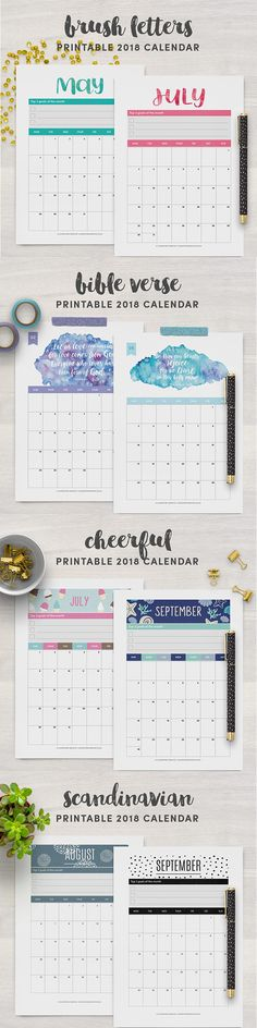 Printable 2018 calendars for planner lovers. Make the best of every month by keeping track of your goals, bills, birthdays and more. Choose between Regular binder size (A4 / Letter), A5, Personal and Pocket sizes. Click here to choose a 2018 calendar design that fits your style!