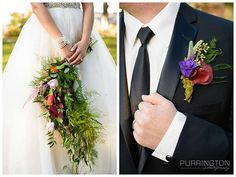 Florals by Panache Event Planning in Bemidji.  Unique bouquet and boutonniere with red and purple.  © 2015 Purrington Photography www.PurringtonPhotography.com Bemidji Laporte Walker Wedding Photographer