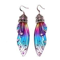 Wing Earrings, Etsy Earrings, Ankle Tattoos For Women Anklet, Fairy Wings, Gold Crown, Resin Art, Antique Gold, Purple, Pink
