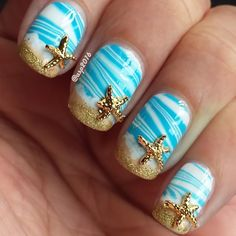 Amazing Tips For The Best Summer Nails – NaiLovely Beach Nail Designs, Beach Nail Art, Beach Nails, Nail Art Designs, Cruise Nails, Vacation Nails, Manicure, Diy Nails, Shellac Nails